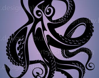Vector OCTOPUS, devil-fish, AI, eps, pdf, svg, dxf, png, jpg Image Graphic Digital Download Artwork, graphical, discount coupons
