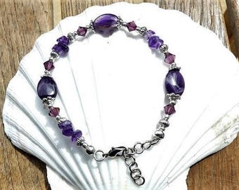 The amethysts with swarovski crystals bracelet