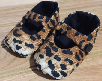 Mary Jane Shoes - Cheetah Print / Black, Brown, Cream