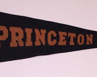 Circa 1920's Princeton University Sewn Letter Pennant - Antique Ivy League Memorabilia