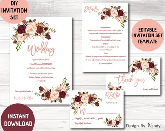 Wonderful Boho Wedding Invitation Template, Marsala Wedding Invitation Suite DIY,  Rose Gold Editable Wedding Invite