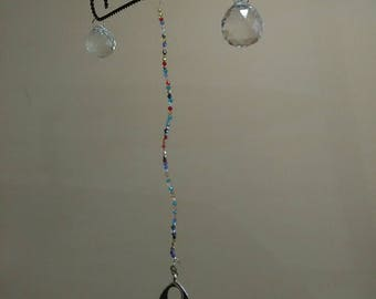 Wrought iron Suncatcher with two 30mm prism crystal balls and a turquoise ornament drop