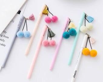 Colourful Pens with Pom Pom Decor