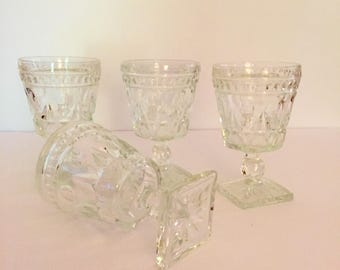 Clear Indiana Glass Colony Park Lane Goblets - Set of 4