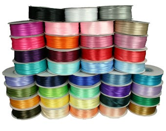 "Set Of 3 Rolls 1/16"" DOUBLE FACE Silky SATIN Ribbon Bulk Buy!!"