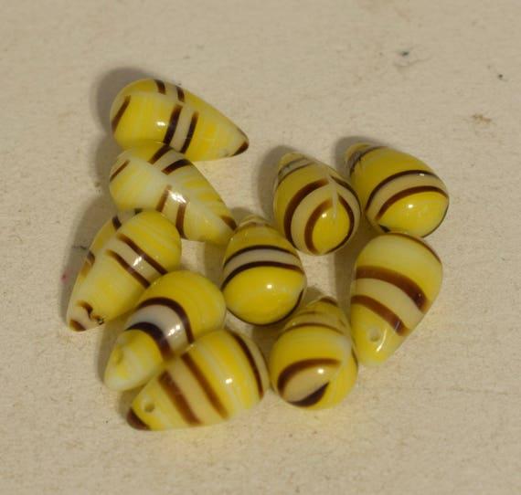 Beads Wedding Glass Yellow Stripped Czechoslovakian Teardrop Beads 14mm