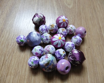 Purple flower bead mix