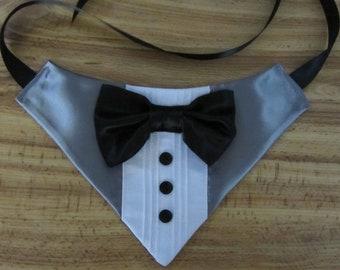 Silver Gray Grey Dog Tuxedo bandana