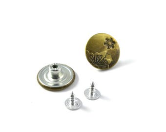 Buttons jeans metal 20 mm set of 2 Butterfly pattern