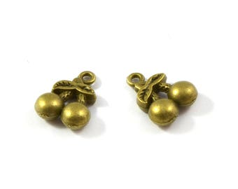 Cherry color charms bronze set of 2