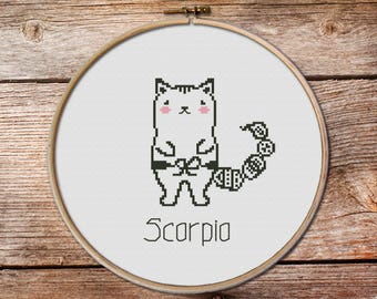 Scorpio - zodiac sign, Scorpio Cross Stitch, cute zodiac cross stitch, cute cross stitch, kawaii cat cross stitch, scorpio