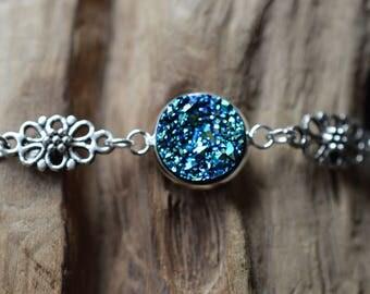 Blue Faux Druzy Bracelet