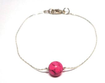 Minimalist silver bracelet, pink natural Pearl