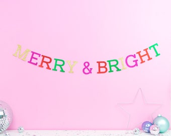 Merry and bright Christmas garland - Christmas decoration - Christmas party decor - Christmas home decor - Christmas wreath - Christmas Day