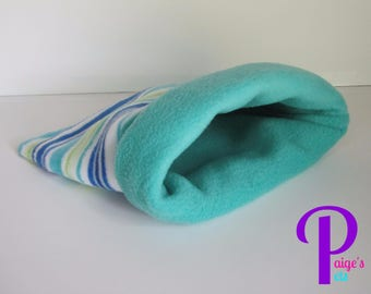 Reversible Fleece Snuggle Sack, Cuddle Sack, Cozy Sack for Guinea Pigs, Ferrets, Hedgehogs, etc. | Blue and Green Stripes with Turquoise