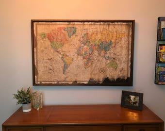 Distressed Vintage World Map