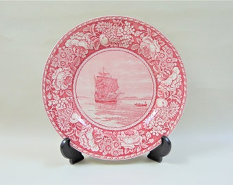The Mayflower in Plymouth Harbour Plate British Anchor Pottery Jonroth Staffordshire UK Vintage Pink Transferware
