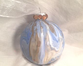 Light Blue White Gold Marble Acrylic Pour Painted Glass Christmas Ornament Rhinestone, One of a Kind, Hand Painted, Pick Size