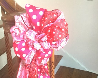 Valentine Door Banister Mailbox Red  & Pink Ribbon Bow Hearts Engagement Love