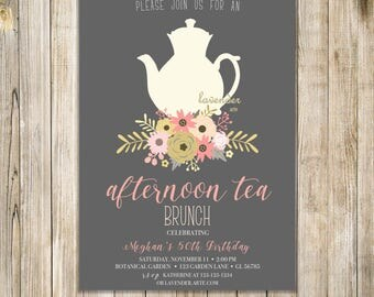 AFTERNOON TEA BRUNCH Invitation, Shabby Chic Birthday Tea Party Invite, High Tea Invites, Floral Tea Party Invite, Pink Gold Birthday Tea