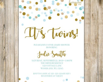 TWINS SHOWER INVITATION, It's Twins, Twin Boys Baby Shower Invite, Blue and Gold, Blue Baby Sprinkle, Diy Twin Boys Couples Shower LA15