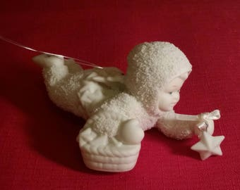 """Snowbabies by Department 56 """"Starry Starry Night"""" Angel Ornament with Stars Porcelain Bisque Snowbaby Figurine Ornament with floating star"""