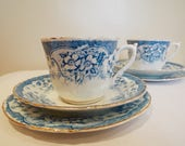 Victorian Teacup and Saucer And Cake Plate With Blue And White Flowers. English Antique China Tea Cup Trio. Perfect For Afternoon Tea Party