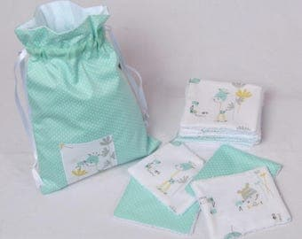 Lot 12 wipes CLOTHS lined POUCH sponge for children