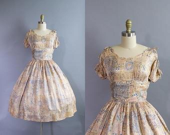 1950s Novelty Print Dress/ 50s acetate silky day dress w/ scalloped neckline/ Extra Small (36b/24.5w)