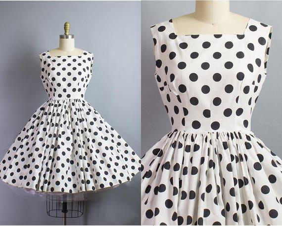 1950s Polka Dot Dress/ XS Petite (33B/25W)
