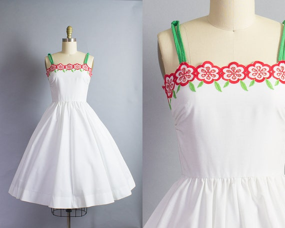 1960s Floral Cotton Sundress/ XS (32B/24W)