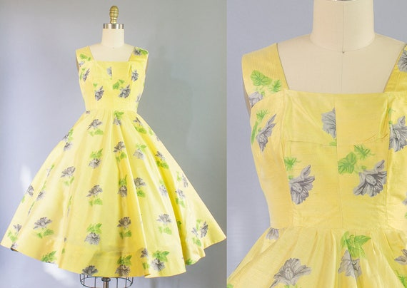 1950s Silk Floral Dress | Extra Small (30B/24W)