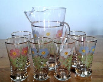 Vintage West Virginia Glass Pitcher And Six Glasses With 22K Gold Trim