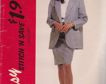 McCalls 6360 Vintage Pattern WOmens Unlined jacket, Top and Straight Skirt SIze 16,18,20,22 UNCUT
