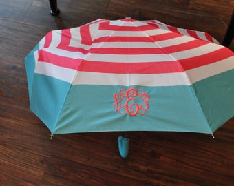 Monogrammed Striped Umbrella