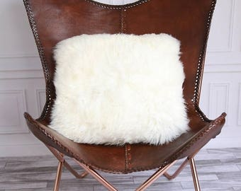 ON SALE Real Creamy White Sheepskin Pillow Sheepskin Cushion