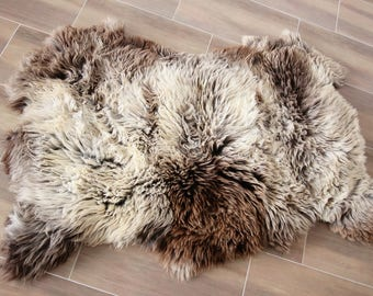 Triple Sheepskin Rug | Brown Sheepskin | Beige Sheepskin | Sheepskin Throw | Sheepskin Rug