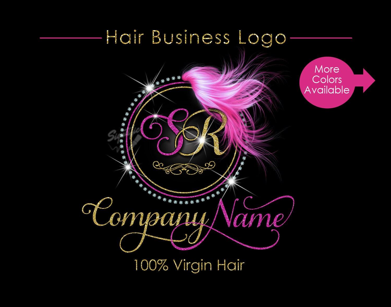hair extensions logo circular diamond bling logo glitter