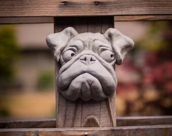Outdoor Wall Hanging Cement Pug Garden Statue   Pug Puppy