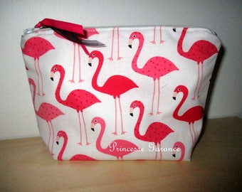 Christmas, birthday * Kit makeup or travel patterns flamingos background white