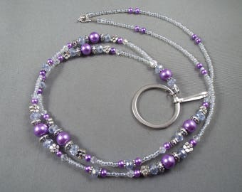 "beaded breakaway lanyard purple glass pearls and crystals 32"" to 46""ID badge holder with magnetic or toggle clasp  ,unique fashion"