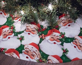 "Christmas Tree Skirt-Santa Claus- St. Nick-Tree Skirt-Classic Santa-Retro Santa-Vintage Santa-42"""