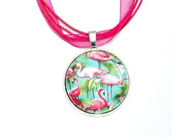 Pendant on necklace pink flamingos