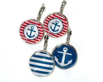 2 pairs of earrings round anchors