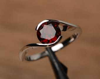 natural garnet ring promise engagement ring round cut sterling silver ring solitaire January birthstone red gemstone ring