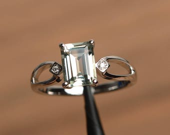 natural green amethyst ring promise ring emerald cut green gemstone sterling silver