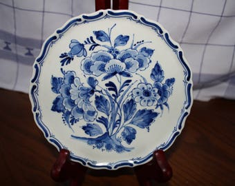 Vintage  Porceleyne Fles Delft Plate - Flowers - Dated 1954