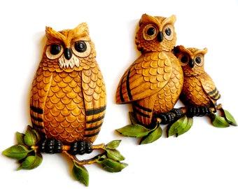 Vintage Owl Wall Hanger Pair HOMCO Plastic 1970s Molded Plastic Birds Family Set VTG Retro