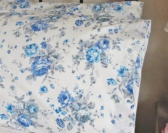 Pillowcase Blue & White Roses Bedroom Pillow Shams Cases In Pure Cotton Fabric 2515