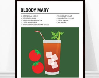 Bloody Mary Cocktail Print, Cocktail Recipe Art, Alcohol Print, Bloody Mary Recipe